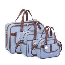 Kit Bolsa Maternidade Soft Azul Militar Fazendo Arte (3p)