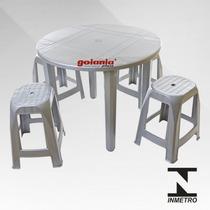 Mesa De Plástico Redonda, Cor Inox, Resistente, Desmontável