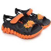 Sandalia Papet Flex Masculina Infantil Preta/laranja