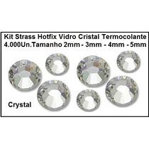Kit Strass Hotfix Vidro Cristal 4.000un.tam. 2mm,3mm,4mm,5mm