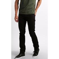 Calça Jeans Sarja Preta Black Slin Fit Lycra Stretch