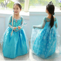 Vestido Fantasia Frozen Elza Azul Calda Grátis Acessórios