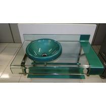 Gabinete De Vidro Verde P/banheiro - Com Espelho - 70cm