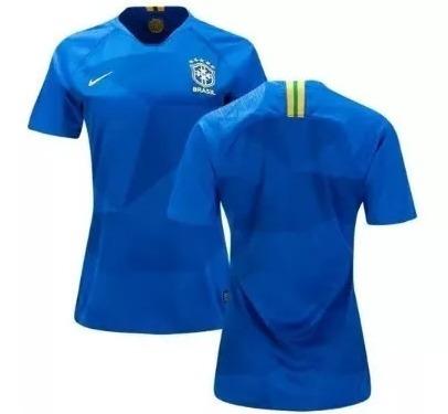 Camisa Nike Brasil Baby Look Feminina Gola V 2018 Oficial - R  199 ... f7e10b0ceae50