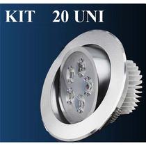 Kit 20 Spot Led 5w Lampada Dicroica Direcionável Sanca Gesso