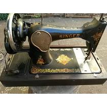 Máquina De Costura Antiga Singer Na Caixa De Madeira Origina