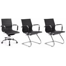 Kit 1 Cadeira Giratória+2 Cadeiras Fixas Charles Eames Preto