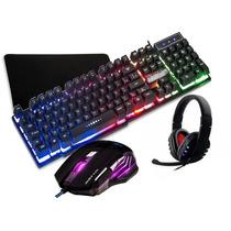 Kit Teclado Semi Mecânico Mouse Gamer  Headset + Mouse Pad