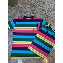 Kit Casal Camisa Lala Listrada Arco Iris Peruana A Venda Em Ferraz