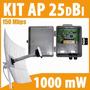 Kit Cliente Ap Externo + Fonte Poe + Antena Aquário 25 Dbi
