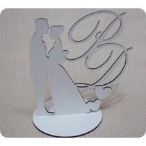 Topo De Bolo Em Mdf Branco Casal Com Iniciais Personalizado