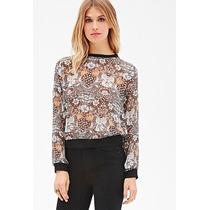 Blusa Camisa De Chiffon Forever 21 Com Estampa Floral