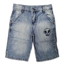 Bermuda Infantil Menino Em Jeans Caveira Bittix