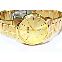 Relógio Orient Dourado Masculino Calendário Mgss1100 C2kx