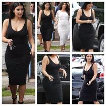 Vestido Bodycon Midi Kim Kardashian Preto - Pronta Entrega