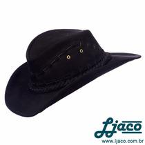 Chapeu Preto Texano Em Couro Legitimo Country Cowboy Tf4txp
