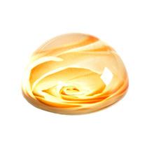 Peso De Mesa Flor Amarela Em Vidro
