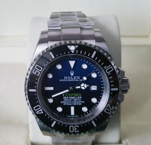 8e506afe3a1 Rolex Acab Suiço Eta Deepsea D-blue + Caixa E Documentos