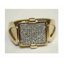 Anel Masculino Ouro Amarelo 18k Com Diamantes!