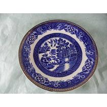 Prato -pratinho Em Porcelana Old Willow Ingles Azul Pombinho