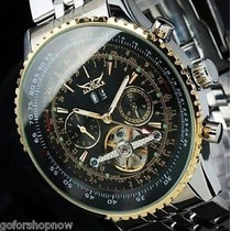 Relógio Jaragar Tourbillon Sport Luxo Skeleton Auto Dourado