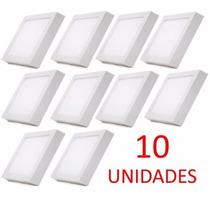 10 Painel Plafon Luminaria Sobrepor Teto Led Quadrado 25w