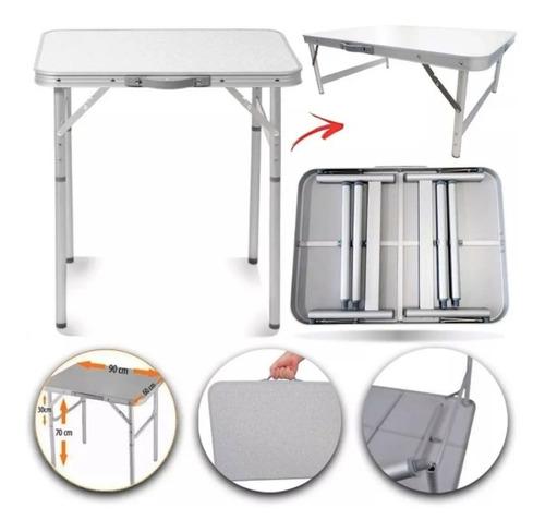 Mesa Aluminio Dobravel Resistente 90 X 60 Mdf Camping Maleta