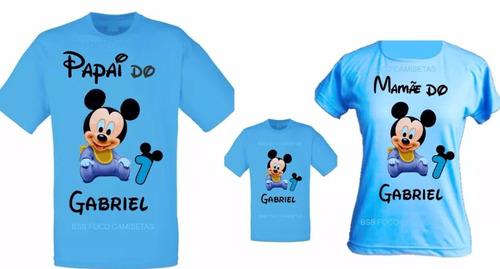 6f693c249 Kit 3 Camisetas Mickey Baby Personalizadas De Aniversario à venda em ...