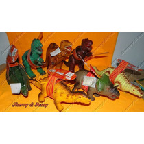 Kit Com 7 Dinossauros Borracha Vinil Dinomania Com Sons