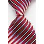 Gravata Seda Listrinha Relevo Vermelho Cinza Branco Gvt 2157