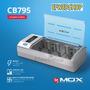 Carregador Pilhas Rápido Mox Aa Aaa C D Bateria 9v Mo-cb795