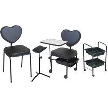 Cadeira Para Manicure Love + Cadeira + Carrinho + Tripé