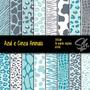 Papel Digital Scrapbook Imagens Sh148 - Azul E Cinza Animais