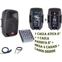 Kit Caixa Ativa 8 + Caixa Passiva 8 + Mesa Na 402 + Brinde