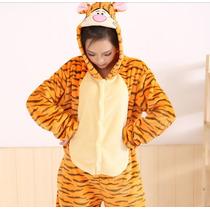 Pijama Adulto Macacão Tigre Tigrão Pooh Com Capuz