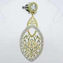 Jóia Pingente C/ Diamante E Topázio Azul Céu - Ouro E Prata