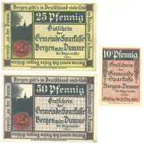 Alemanha / Bergen An Der Dumme 1922 3 Notgelds Diferentes Fe
