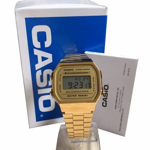 44b49e92e00 Relogio Casio Unisex A168 Retrô Vintage Dourado A168ewg-9 - R  64 en ...
