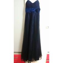 Vestido De Festa Madrinha Debutante Azul Com Tule Preto P