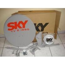 Antena Banda Ku Hd Sky 60cm Completa + Kit 20mt De Cabo Sky