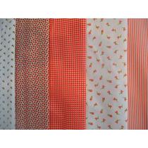 Kit 7 Tecidos Estampados Vermelhos P/ Patchwork Frete Grátis