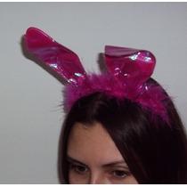 Tiara Coelha Rosa Com Marabú E Tecido Holográfico