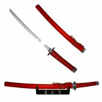 Espada Samurai Katana Vermelha C/ Suporte