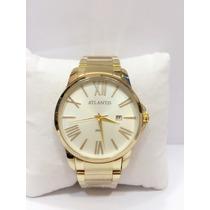 Relógio Atlantis Original Dourado Com Calendário