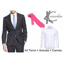 Terno Slim Masculino Com Brinde Camisa Branca E Gravata Rosa