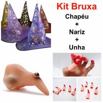 12 Kit Fantasia Bruxa Chapéu Nariz Unha Halloween Festa