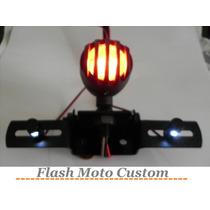 Lanterna Luz Freio E Parafusos Led Suporte Placa Moto Custom