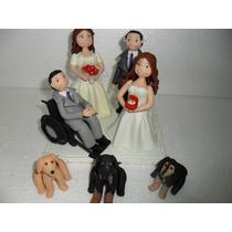 Casal Noivinhos Biscuit Topo Bolo Noiva Cadeirante Casamento