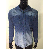 Camisa Masculina Estilo Jeans 2 Bolsos Slim Fit Casual Ref02