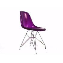 Cadeira Acrílica Dkr Base Torre Inox - Uva/roxo